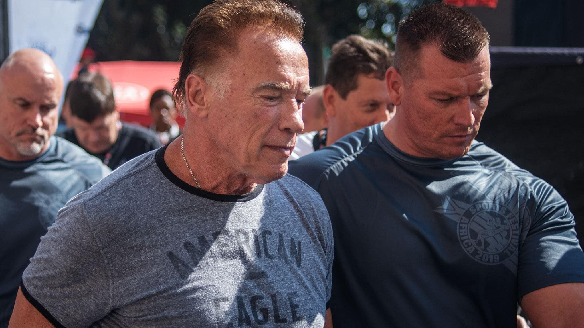US actor and former California Governor Arnold Schwarzenegger (C) is seen at the Arnold Classic Africa, a multi-sport festival held at the Sandton Convention Centre in Johannesburg, South Africa. Picture: AFP