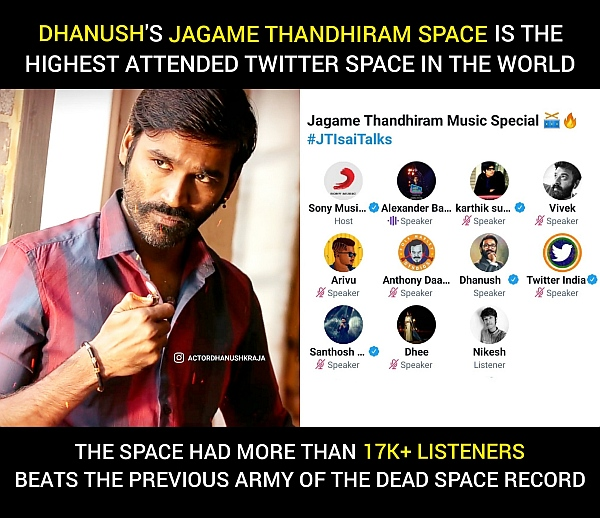 dhanush-twitter-space-record